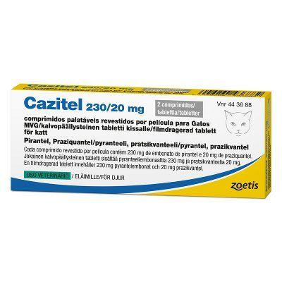CAZITEL 230/20 mg vet tabl, kalvopääll (kissalle)2 fol